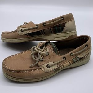Sperry Top Sider Plaid Boat Shoe Leather Loafer